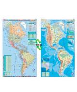 MAPA MURAL PLASTIF.CONT.AMERICANO F/P.D/FAZ 95x130cm.  (x1)